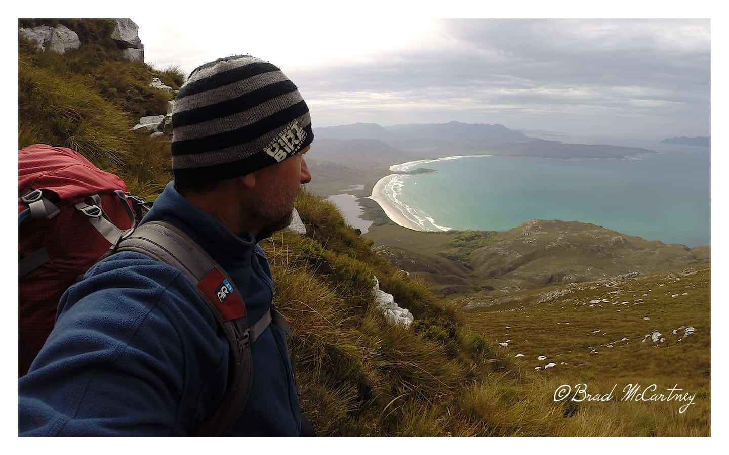 Looking out over Cox Bight on the south coast track