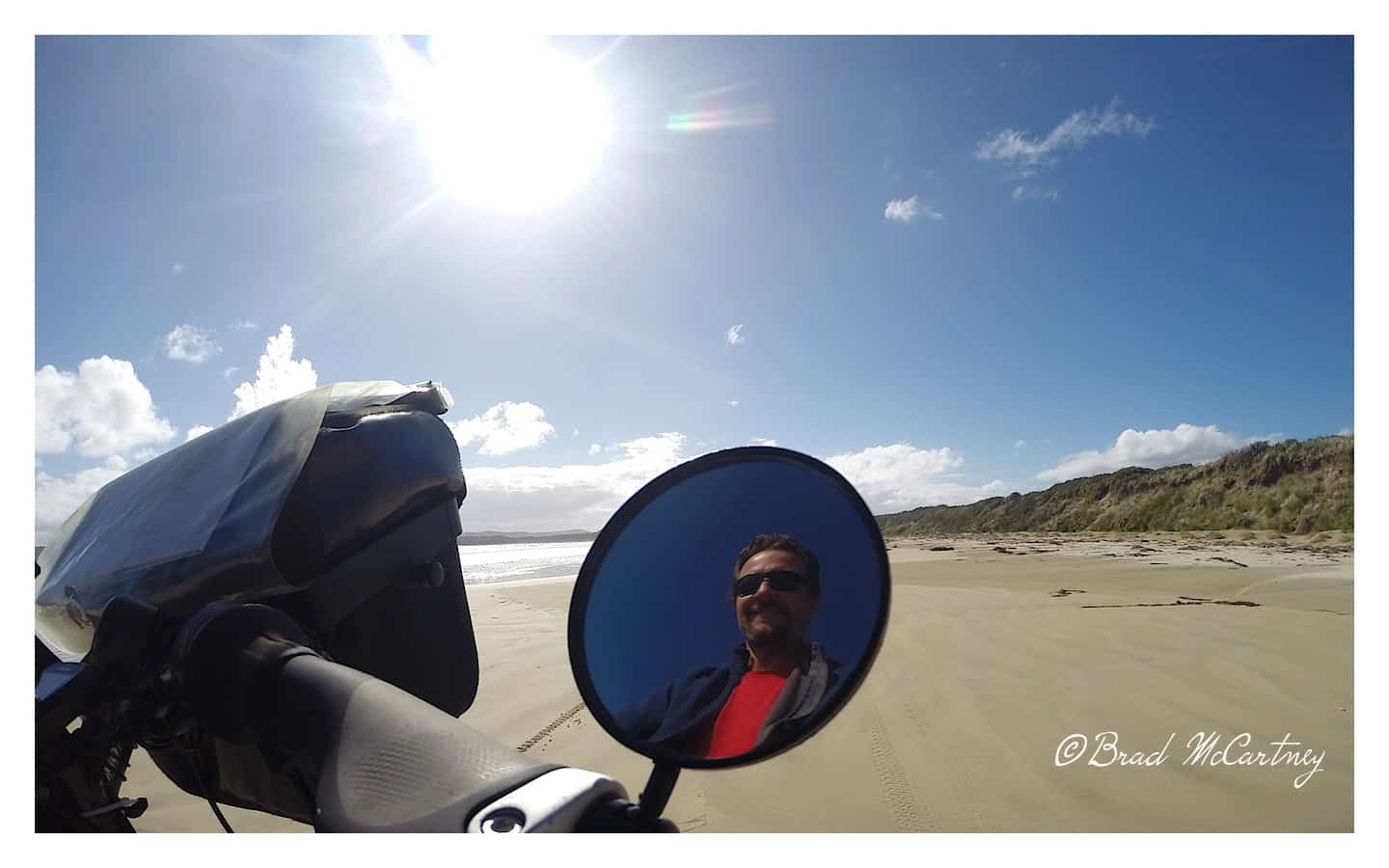 Cycling Bruny Island on the beach