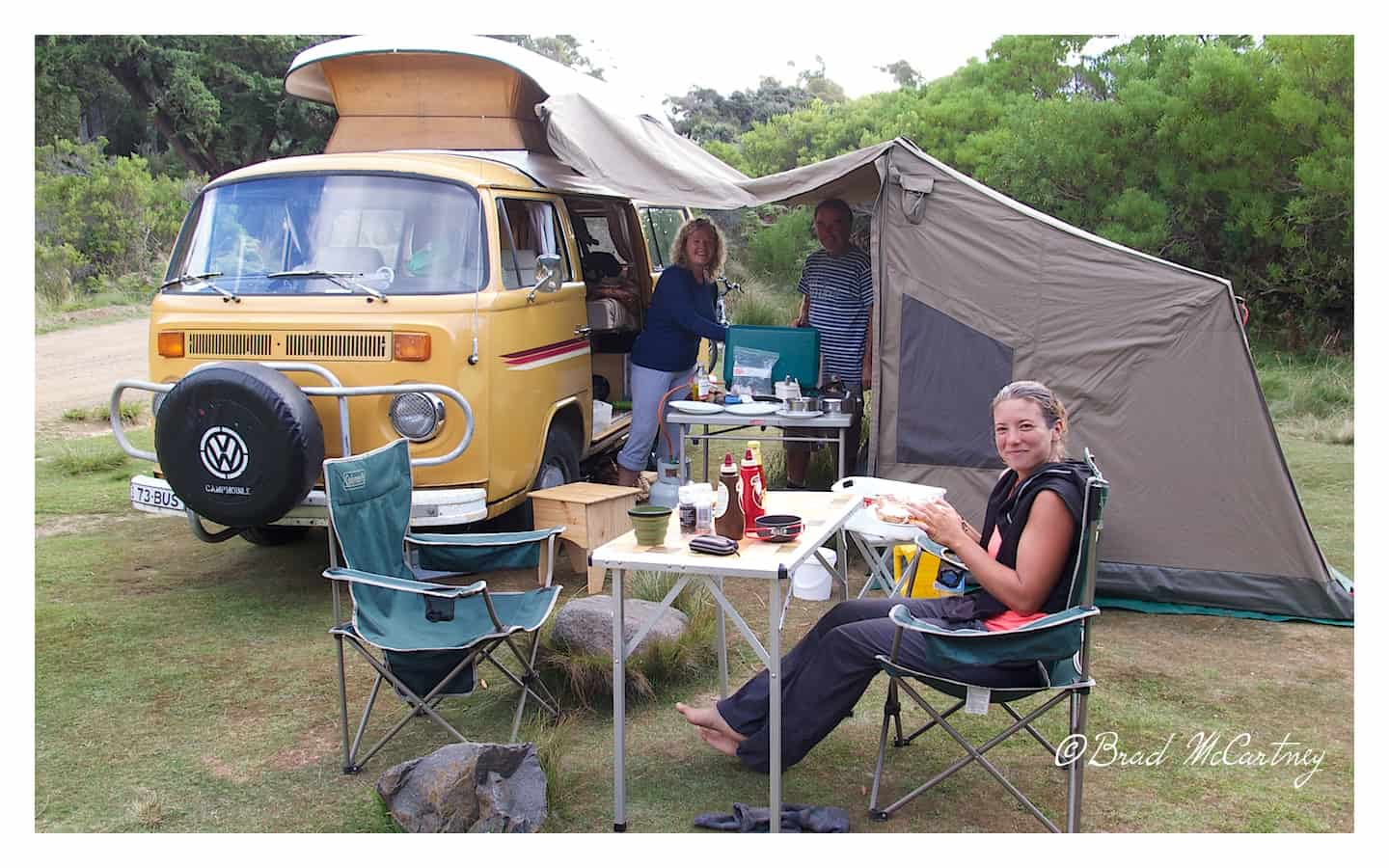 Jen and Laurance at the free campground at the end of the hike at Cockle Creek, so civilised