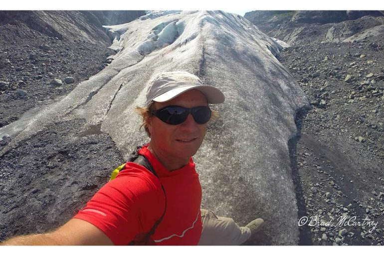 The end of the glacier May 2014. I would have been about 50m under the glacier in May 1997, millions of tons of ice has since melted!