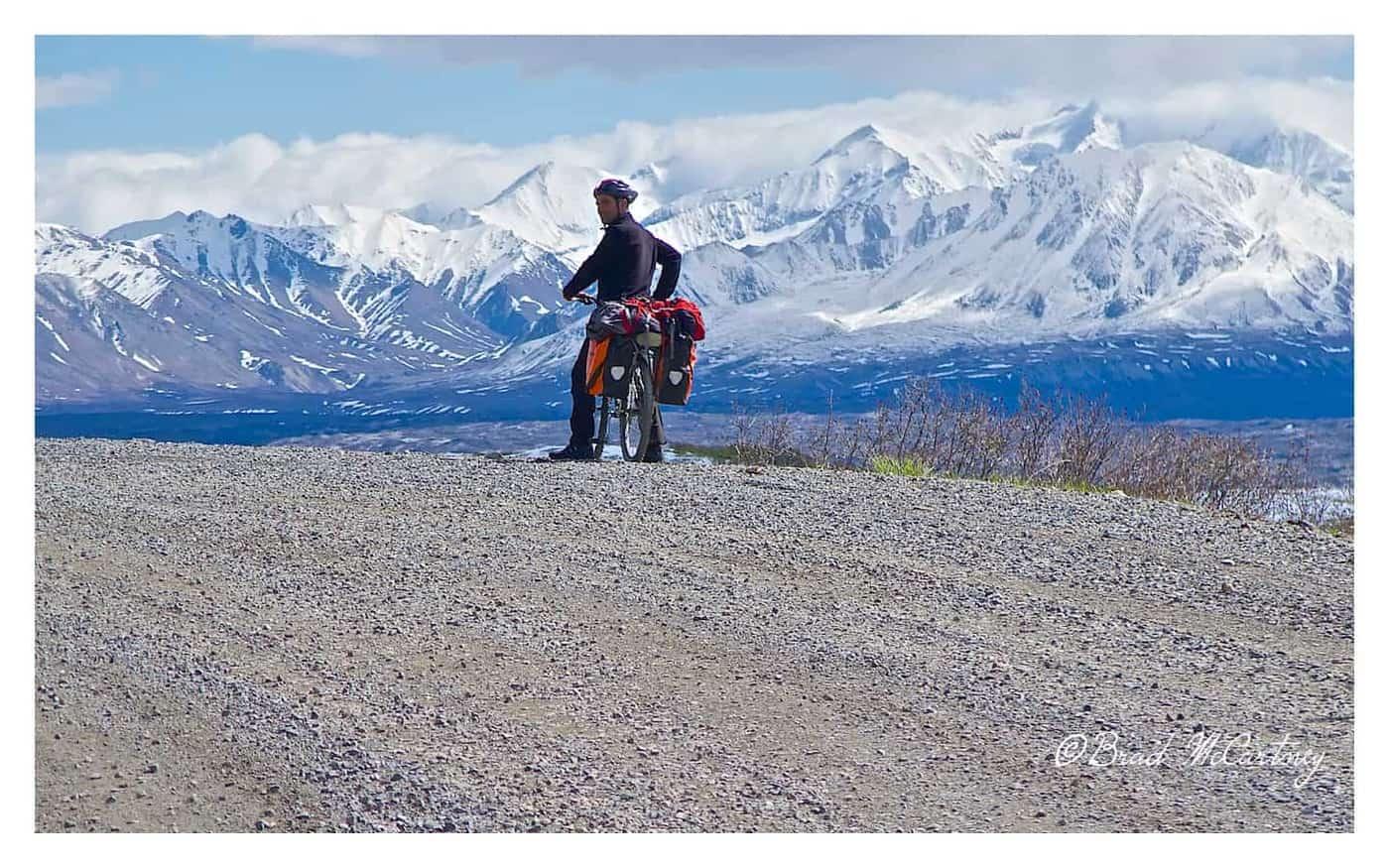 Johann looking for beer while Bikepacking Denali National Park