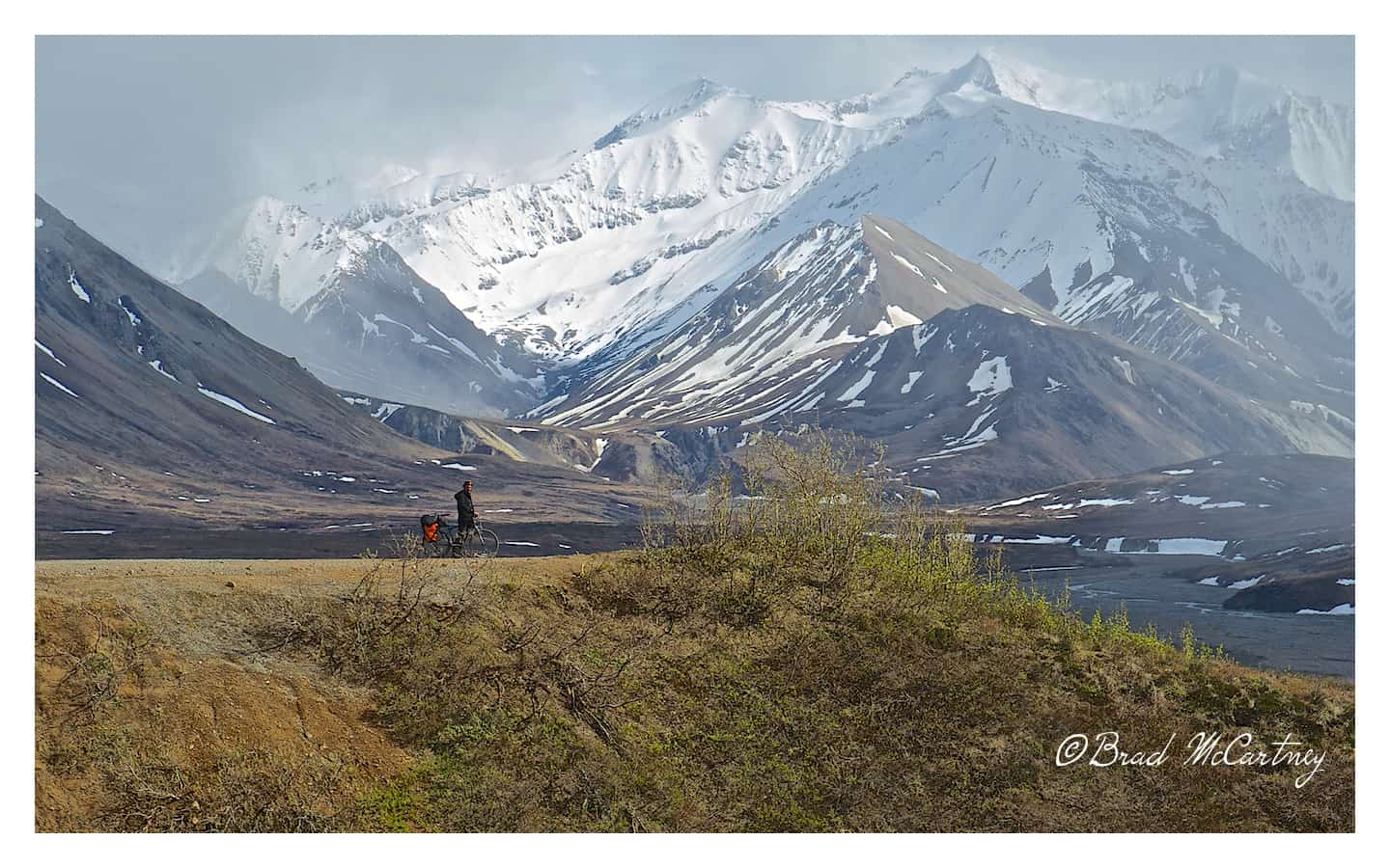 Before the storm hits, it doesn't get much better than this. Johann still looking for beer in Denali National Park.