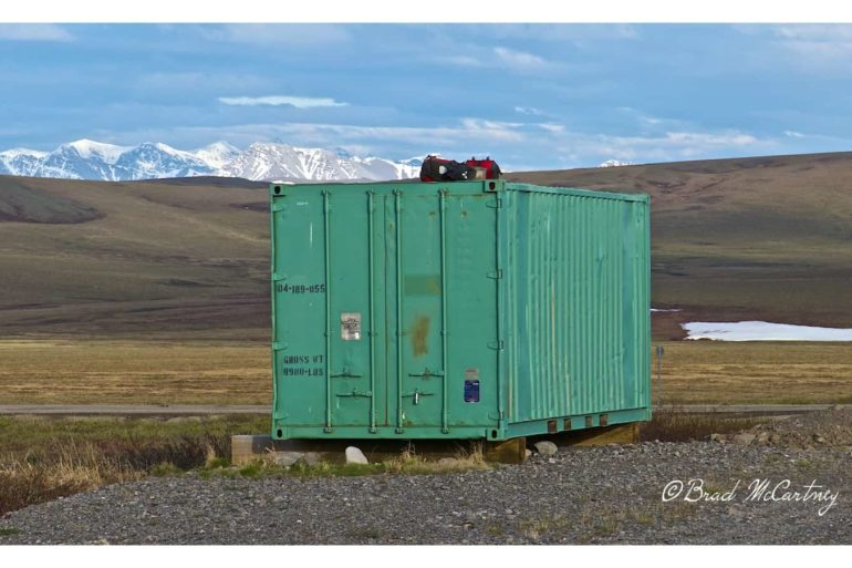 Shipping container on the side of the road makes a great place to store food away from bears!