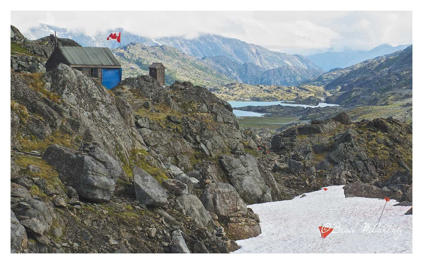 Top of the Chilkoot pass looking into Canada and a small shelter to rest