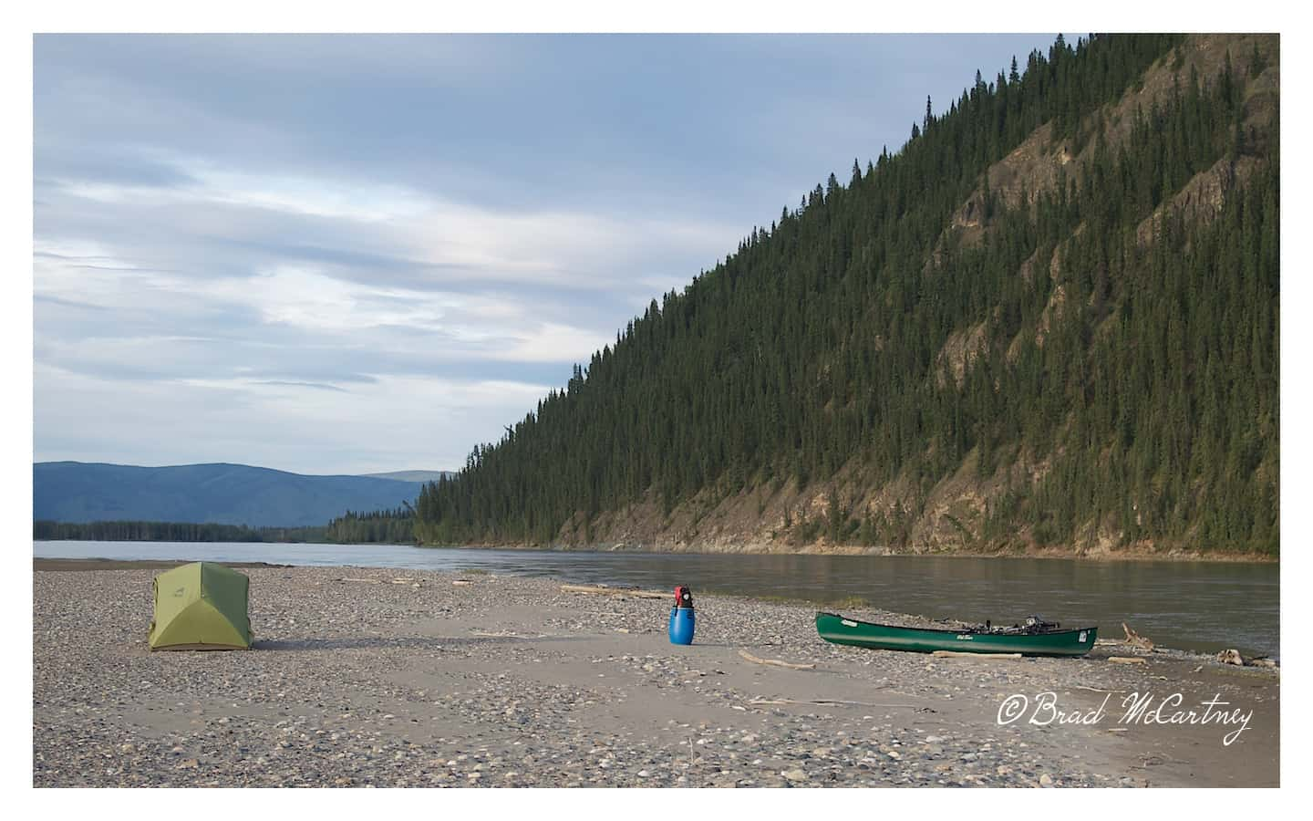 Campsite on a newly formed Island on the Yukon River