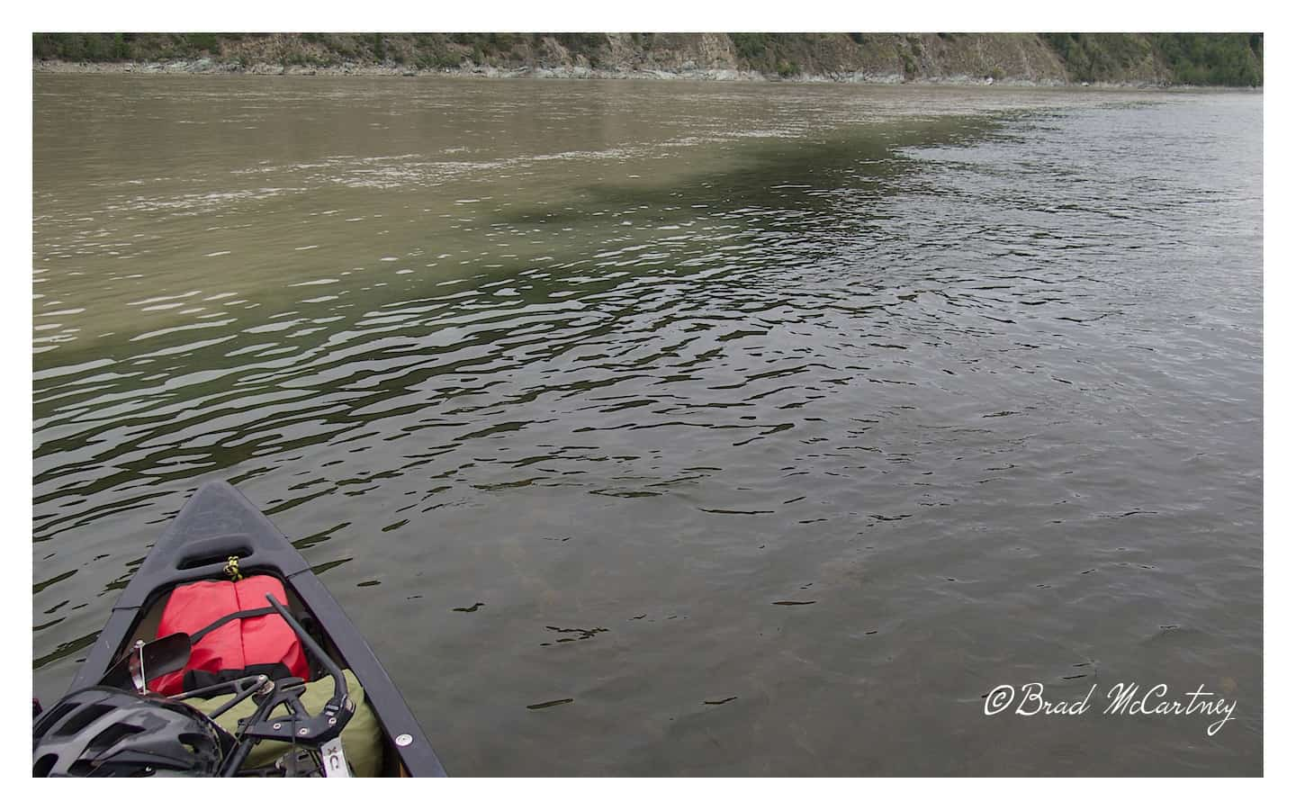 At Dawson City the Yukon River (loaded with silt) merges with the Klondike River which is clear (almost).