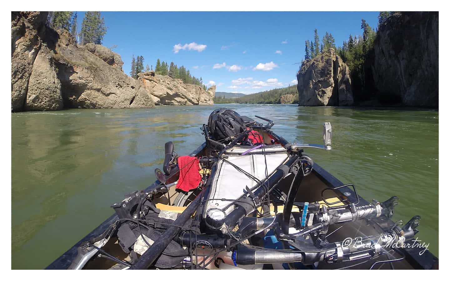 Final approach to Fiver Fingers Rapids on the Yukon River with my bicycle strapped on tight!