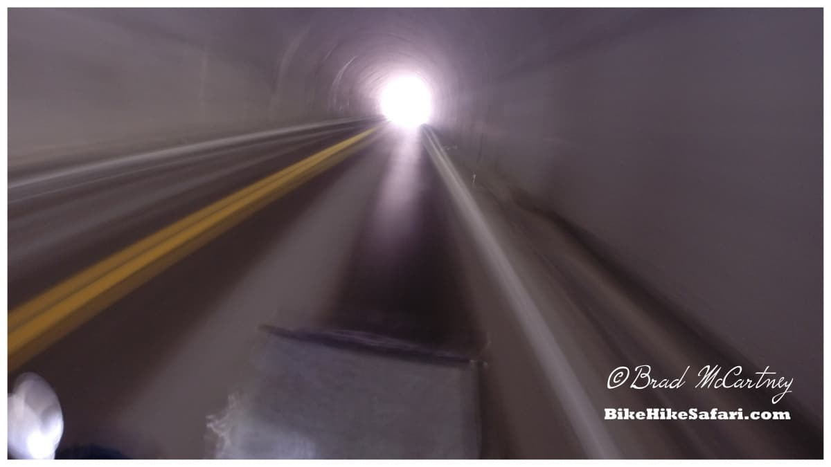Cycling through a tunnel on one of the fast downhill descents