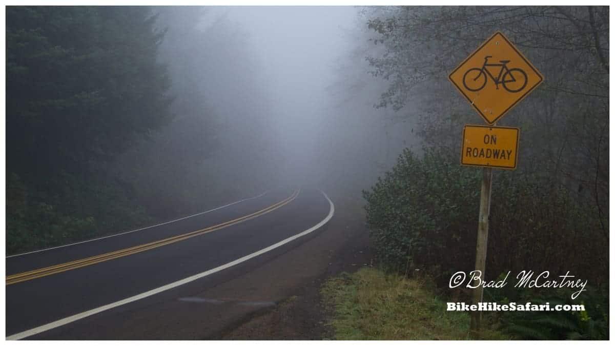Climbing through the fog in the morning