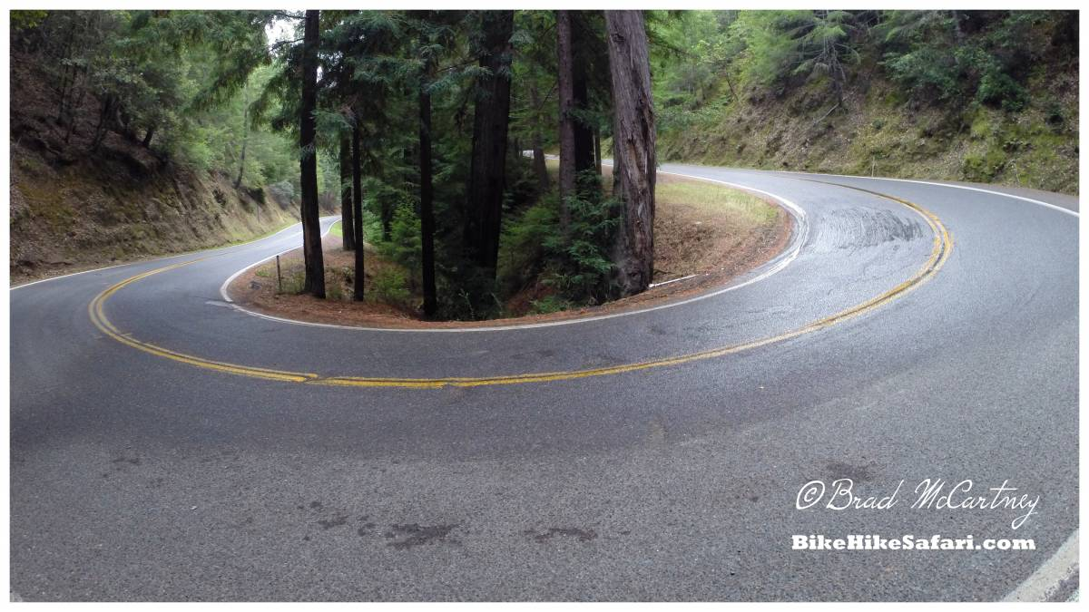 Bicycle touring steep roads near the california coast