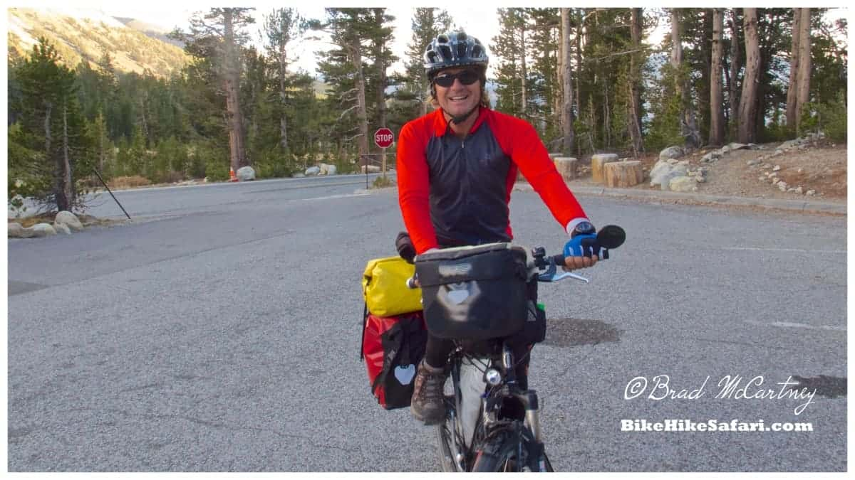 All smiles cycling at the top of Tioga pass