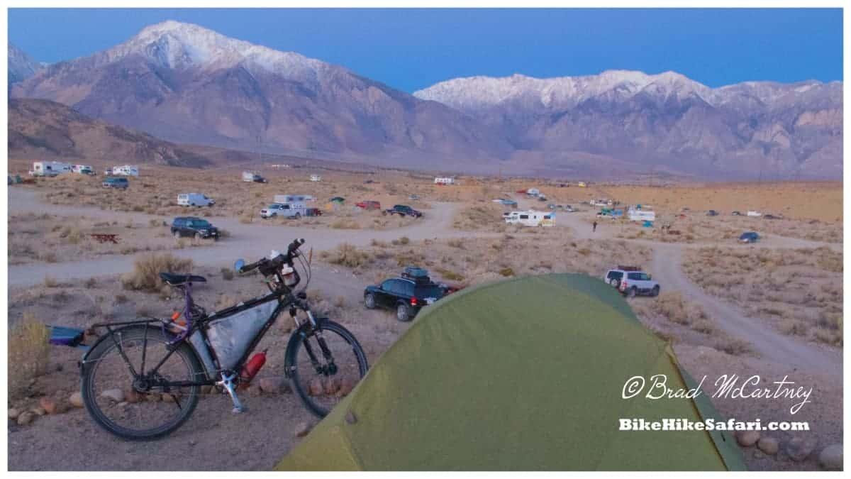 Campsite near Bishop before sunrise