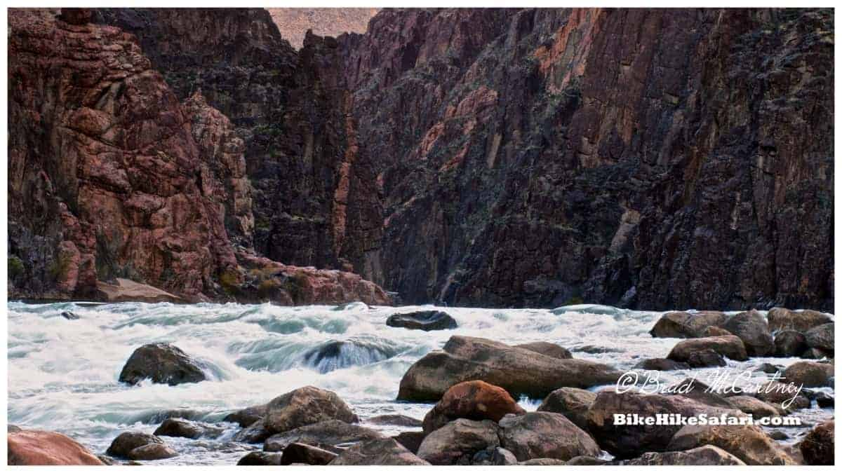 Granite Rapidson the Colorado River from my campsite looking upstream into the narrow Granite Gorge