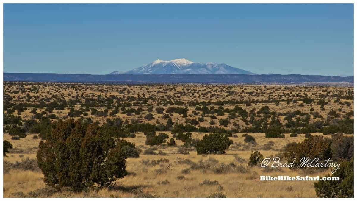 The San Francisco peaks, over 80km away, imagine it being a perfectly formed volcanic cone a long, long time ago!