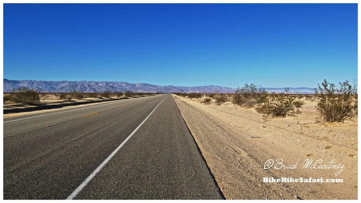 Cycling the Sonoran Desert. The long deserted desert roads