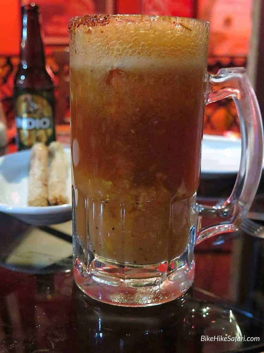 Michelada, a wonderful Mexican drink with fruits, spices, herbs, chilli and beer.
