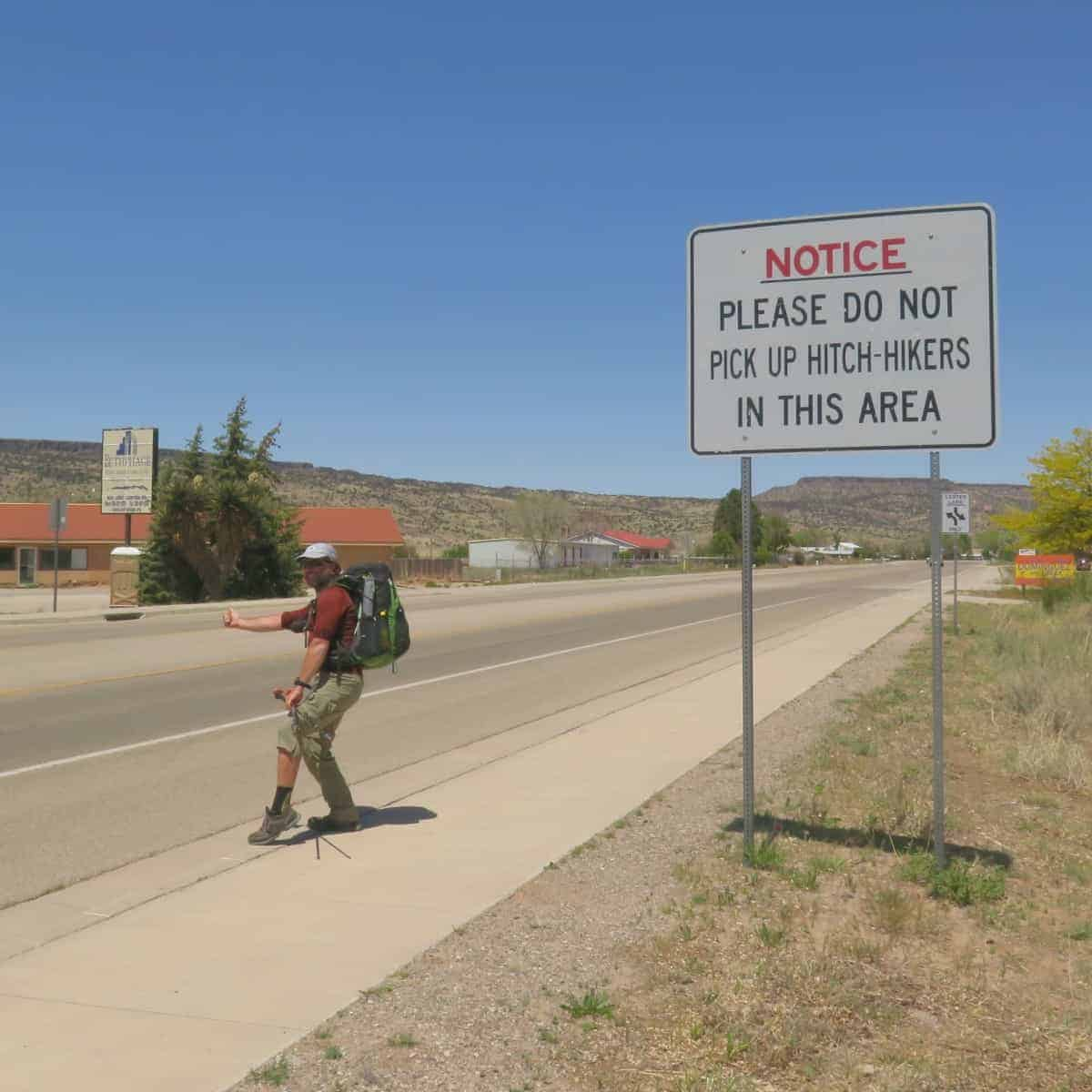 no hitchhiking sign near grants new mexico