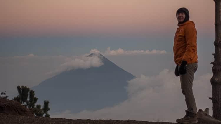 campsite acatenango volcano looking at Aqua volcano
