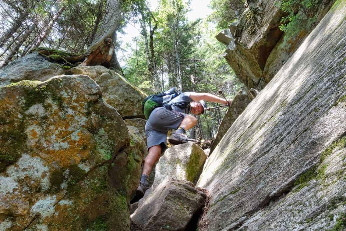 Climbing out of Mahoosuc Notch