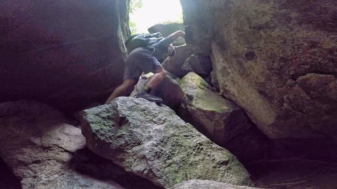 Rock scramble up Mahoosuc Notch