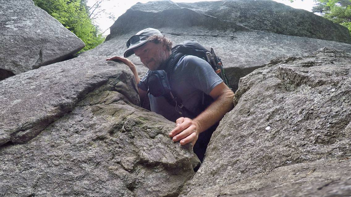 A very tight squeeze at Mahoosuc Notch, it was difficult with a backpack