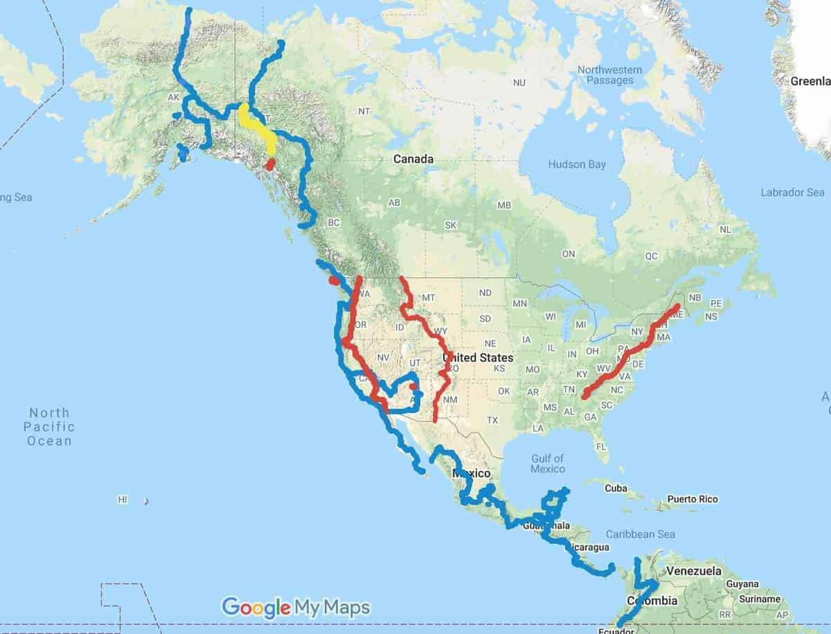 Alaska to Argentine cycling route