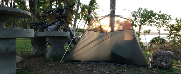 Costa Rica beach camping during a gear test of the Nemo Hornet 2P Tent