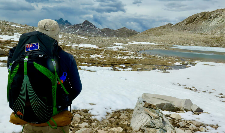 Osprey Exos on the PCT during the review of this backpack