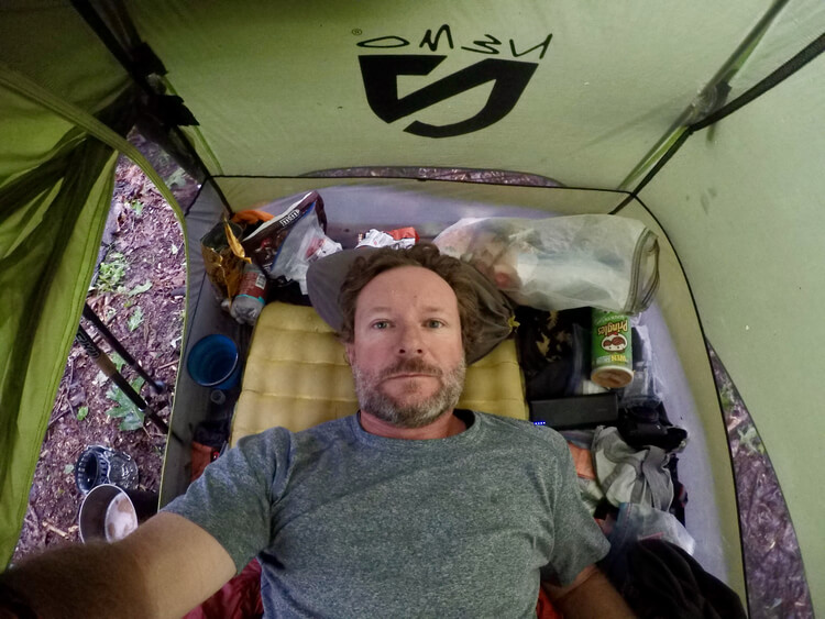 Interior space of a tent
