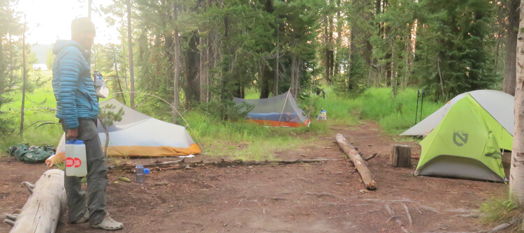 Tunnel Tent or Side entry tent in use in Yellowstone NP on the CDT