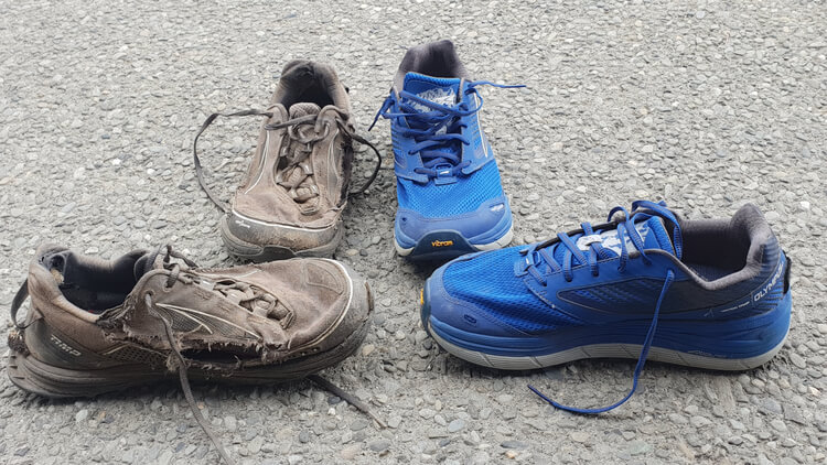 Trail running shoes last about 500 miles