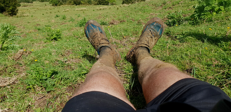 Trail running shoes in the mud